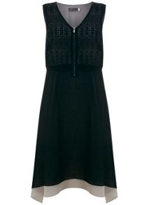 Mint Velvet Black & Chalk Trapeze Dress