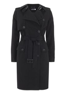 Mint Velvet Black Cotton Mix Trench