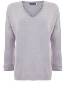 Mint Velvet Lilac V-Neck Silk Detail Knit