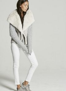 Mint Velvet Grey Faux Fur Mix Gilet