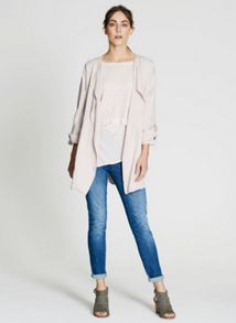 Mint Velvet Nude Collarless Organic Jacket