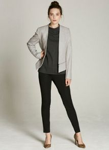Mint Velvet Silver Grey Flannel Crop Tux Jacket
