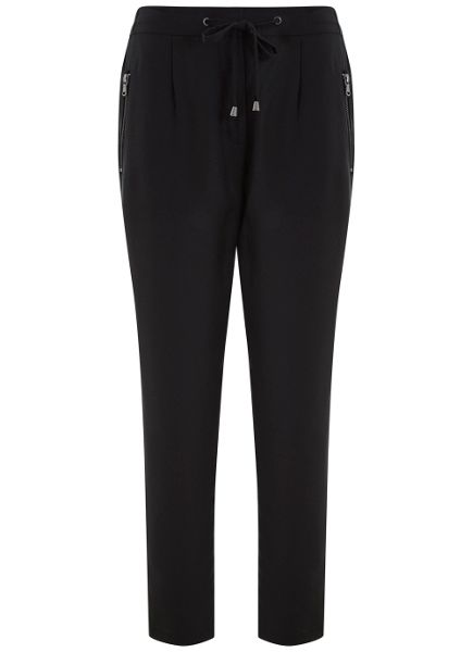 Mint Velvet Black Luxe Zip Sports Pant