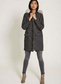 Mint Velvet Grey Jersey Lined Parka