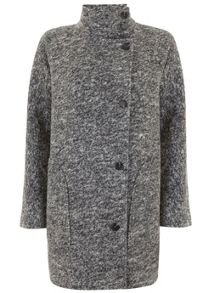 Mint Velvet Grey Textured Stand Collar Coat