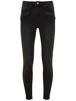 Darby Washed Black Biker Skinny Jean