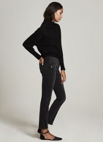Mint Velvet Darby Washed Black Biker Skinny Jean