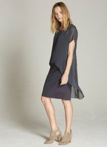 Mint Velvet Mercury Chiffon Layer Jersey Dress
