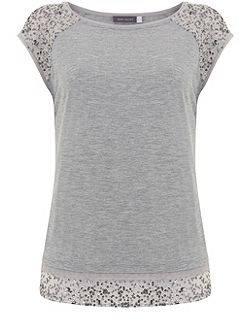 Silver Grey Layered Sequin Tee