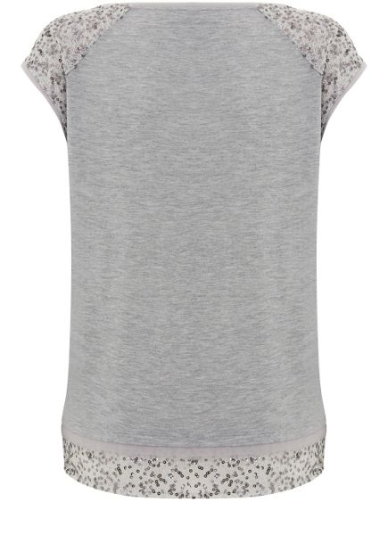 Mint Velvet Silver Grey Layered Sequin Tee