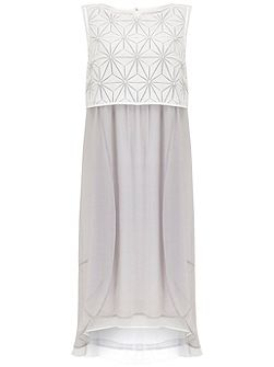 Ivory & Dove Geo Embroidered Cocoon Dress