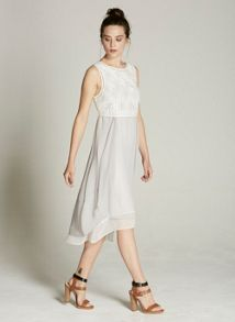 Mint Velvet Ivory & Dove Geo Embroidered Cocoon Dress