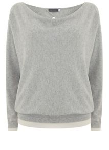 Mint Velvet Silver Grey Wrap Back Batwing Knit