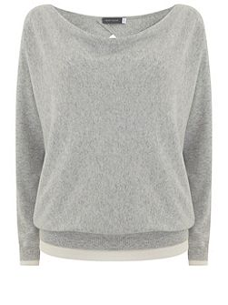 Silver Grey Wrap Back Batwing Knit