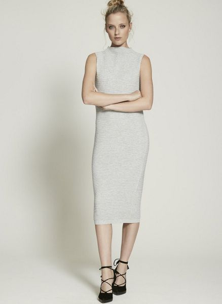 Mint Velvet Silver Grey Knit Tube Dress