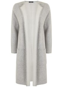 Mint Velvet Silver Grey Double Faced Knitted Coat