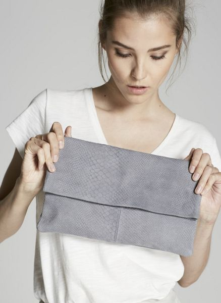 Mint Velvet Smoke Lily Leather Clutch