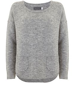 Mid Grey Patch Pocket Cocoon Knit