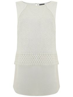 Ivory Mesh Lace Shell Top