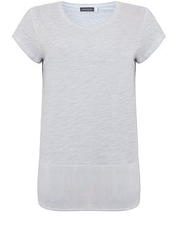 China Blue Woven Hem Tee