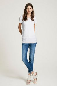 Mint Velvet China Blue Woven Hem Tee