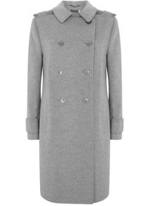 Mint Velvet Silver Grey Collarless Coat
