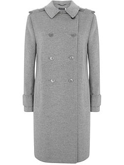 Silver Grey Collarless Coat