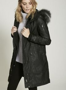 Mint Velvet Washed Black Waxed Parka