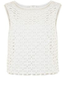 Mint Velvet Ivory Geometric Lace Shell Top
