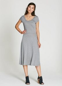 Mint Velvet Grey Marl Ballet Jersey Dress