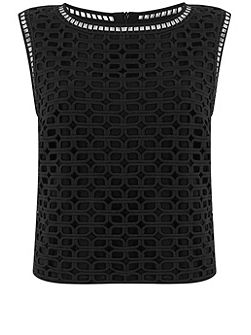 Black Geometric Lace Shell Top