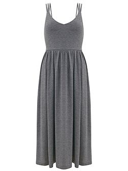 Grey Strappy Jersey Dress