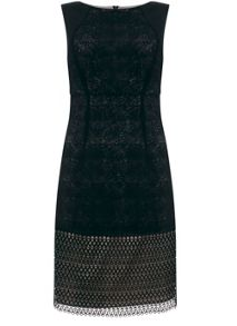 Mint Velvet Black Mesh Lace Dress
