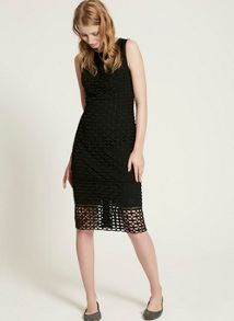 Mint Velvet Black Geometric Lace Shift Dress