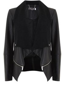 Mint Velvet Black Leather Waterfall Jacket