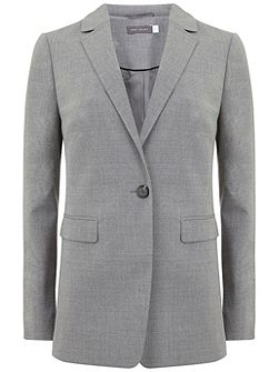 Silver Grey Fitted Flannel Blazer