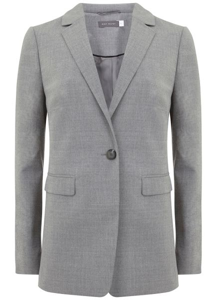 Mint Velvet Silver Grey Fitted Flannel Blazer