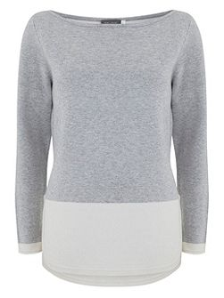 Silver Grey Block Curved Hem Knit