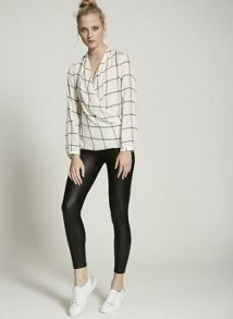 Mint Velvet Ivory & Black Check Wrap Top