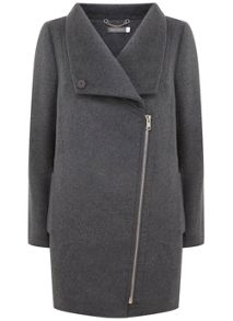 Mint Velvet Granite Funnel Neck Biker Coat