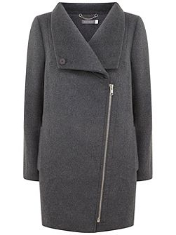 Granite Funnel Neck Biker Coat