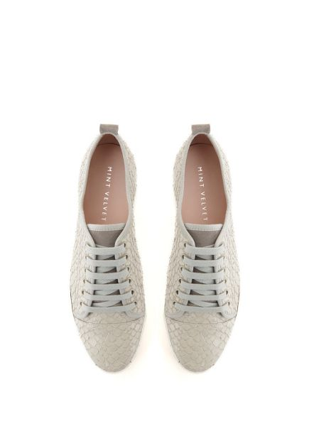 Mint Velvet Textured Grey Emily Lace Up Plimsoll