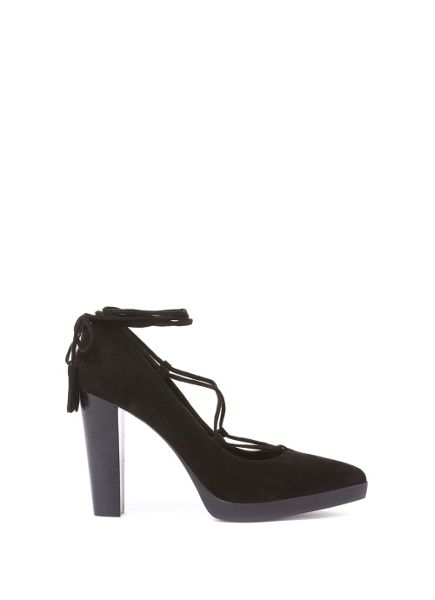 Mint Velvet Black Eve Lace Up Platform