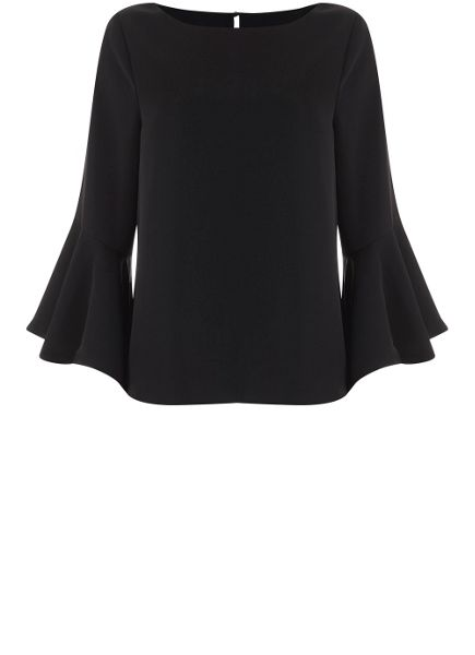 Mint Velvet Black Fluted Sleeve Top