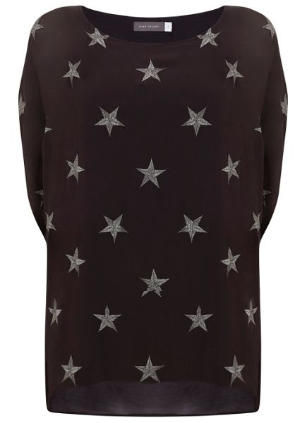 Mint Velvet Charcoal Star Embroidered Cocoon Tee