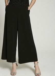 Mint Velvet Black Formal Crop Wide Leg Trouser