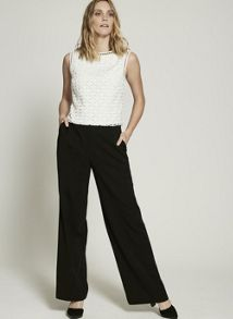 Mint Velvet Black Formal Wide Leg Trouser