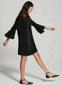 Mint Velvet Black Fluted Sleeve Dress