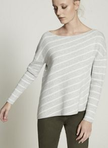 Mint Velvet Stripe Asymmetric Boxy Knit