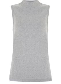 Mint Velvet Silver Grey High Neck Sleeveless Knit
